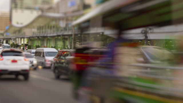 Time lapse traffic jams and group of people use crosswalk footage at Bangkok, Thailand with 4K (3fps) format. video