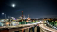 HD Time Lapse: Traffic on Bridge at Night video