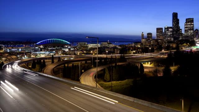 Time lapse traffic Seattle Skyline video
