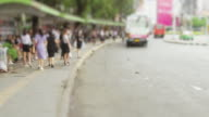 4K time lapse traffict rush hour crowd and car on the road at Bangkok, Thailand with 422HQ format. video
