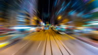 Time Lapse Tram Fast Speed Motion In City Of Hong Kong (reverse, loop) video