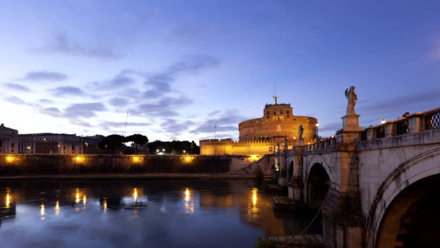 Time lapse twilight Rome Castel Sant Angelo video