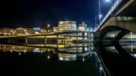 HD Time Lapse: Urban Waterway Bridge Tilt video