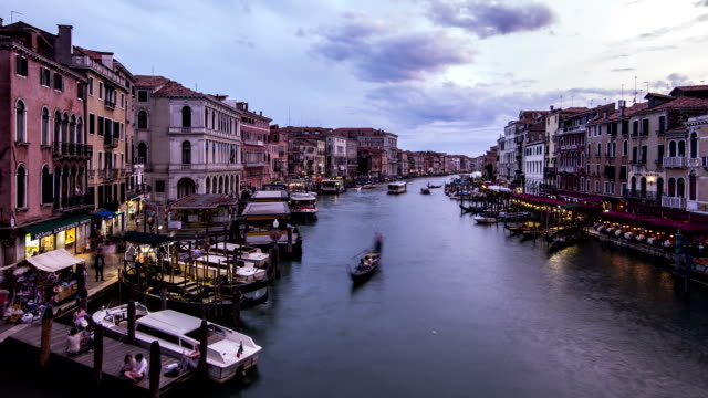 HD Time lapse venice sunset view from Rialto bridge video