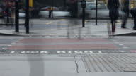 Time lapse video at a busy pedestrian crossing - close up video