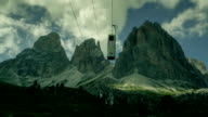 Time lapse video of a mountain landscape: the Saslong Cableway video