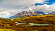 Time lapse video of mountain and valley in Chilean Patagonia video