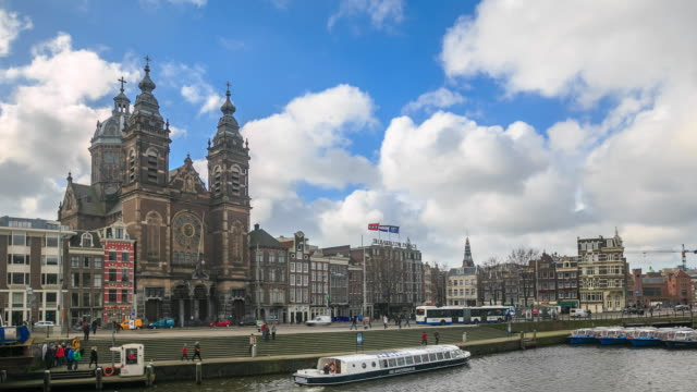 4K Time Lapse : view of Amsterdam canal video