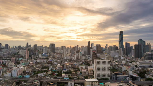 Time lapse view of Bangkok city skyline at sunrise video