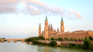 Time lapse : View of Basilica Pillar in Zaragoza , Spain. video
