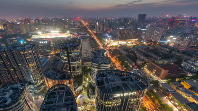 Time Lapse - View of Beijing CBD Sanlitun Area and Traffic, Dusk to Night Transition video