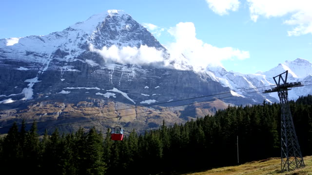 Time lapse view of cable cars passing below Eiger, North Face video
