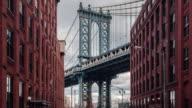 Time lapse view of Manhattan bridge from Washington street, Brooklyn, New York, USA video