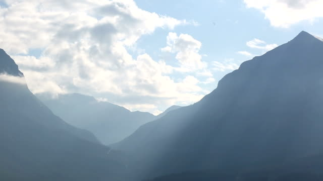 Time lapse view of mountains and valley from raised perspective video
