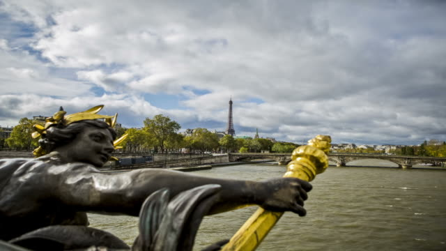 Time lapse view of Seine River and Paris skyline video