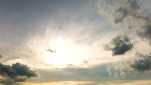 Time Lapse View of Sun and Dusk Sky with Moving Cloud. video
