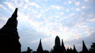 Time lapse view of temples and drifting clouds video