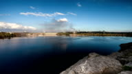 Time lapse view of the river Dnepr and hydro electric station video