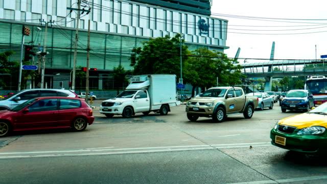 Time Lapse View of Traffic at Finacial Zone Junction, Bangkok, Thailand. Panning shot. video