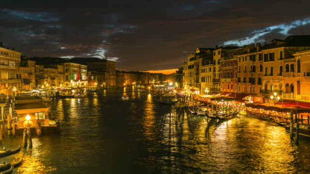 Time Lapse: View on Grand Canal from Rialto bridge at night, Venice, Italy video