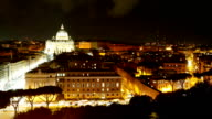 Time Lapse view over Vatican and St Peters Cathedral in Rome by night video