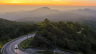 Time lapse Viewpoint the sunrise and cloud whit the beautiful road of Doi Inthanon National park at Chiang Mai, Thailand video