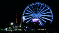Time Lapse Wide View of Ferris Wheel at Myrtle Beach at Night video