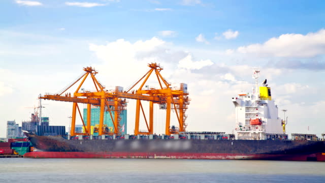 Time lapse Working at Trading port Terminal with Container ship video