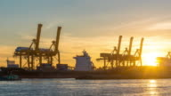 Time Lapse : Working cargo port in morning sunrise video