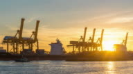 Time Lapse : Working cargo port in the early dawn video