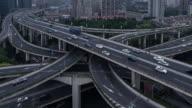 Time Lapse- Yan'an Bridge, City Traffic of Shanghai (Panning) video
