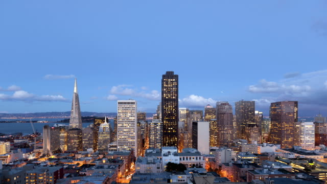 Time lapse zoom in San Francisco Twilight to night video