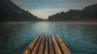 Time Lapse,Bamboo rafting on the lake video