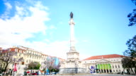 Time lapse:Column of Pedro IV on Rossio Square (Pedro IV Square) in Lisbon, Portugal. video