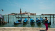Time Lapse,Crowd walking with Gondola at Grand Canal, Venice video