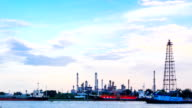 HD time lapse,petrochemical oil refinery plant along a river video