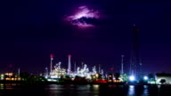 HD time lapse,petrochemical oil refinery plant along a river with the moon video