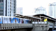 HD time lapse,Rush hour sky train in big city video