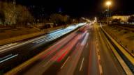 Time Lapse-Urban highway traffic at night in beijing video