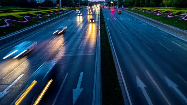 Time Lapse-Urban highway traffic at night video