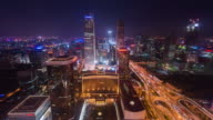 Time Lapse-View of Beijing Skyline at Night (WS HA Zoom in) video