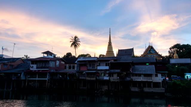 Time lapse,Waterfront Chanthaburi in Thailand At sunset video