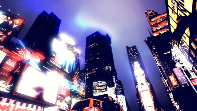 MULTI EXPOSURE - NYC Time Square and Broadway, Motion blurred. video