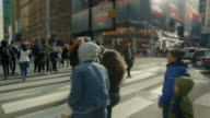 Time Square busy intersection New York City day video