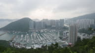 Timelape city in smoke and darkness by foggy day / Hong Kong, China video