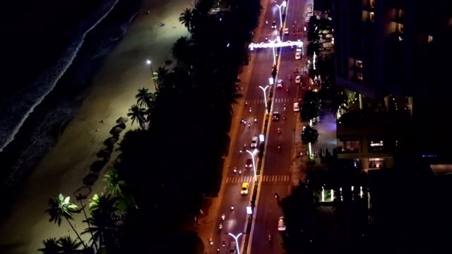 Timelaps night road of Asian megapolis aerial view. video