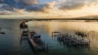 Timelapse 4K - Shellfish farm in gulf of Thailand. video