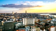 HD time-lapse: Aerial Antwerp ancient town Belgium sunset video