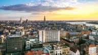 4K time-lapse: Aerial Antwerp ancient town Belgium sunset video