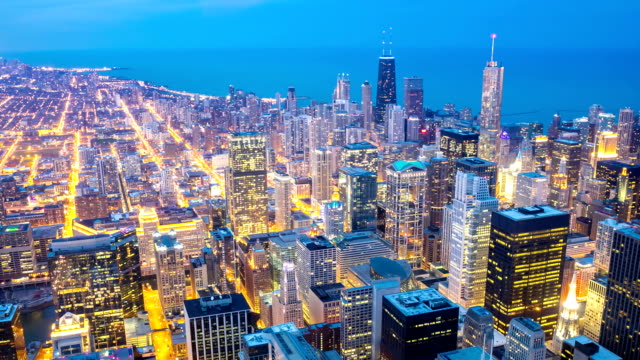 HD Time-lapse: Aerial Chicago Skyline Cityscape at dusk, USA video